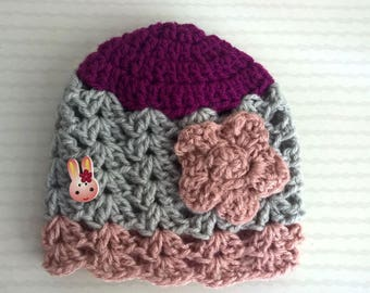 Gray and pink baby Bunny hat - size 3/6 months