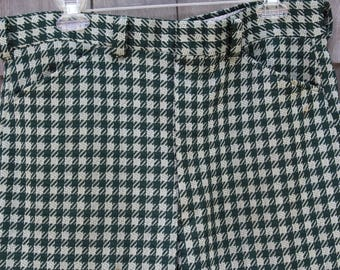 Vintage 1970's Sears Kings Road Green Houndstooth Check Textured Poly Knit Disco Pants Men's size 38 Short--Made in the USA
