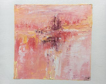 Pink abstract painting/acrylic abstract rose / art / france