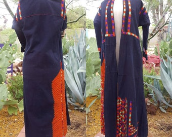 Hand Embroidered Folk Art Ethnic Duster / Long Jacket Eastern Europe / Morocco / Middle Eastern Size M / L