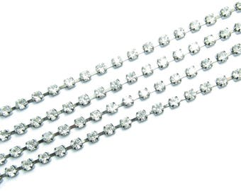 50cm chain ANTHRACITE glass crystal rhinestones