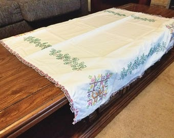 """Butterfly Embroidered Table Cloth 36"""" x 36"""""""