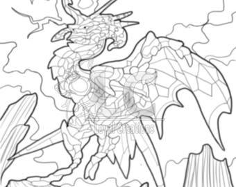 Lightning Dragon Coloring Page PDF DOWNLOAD