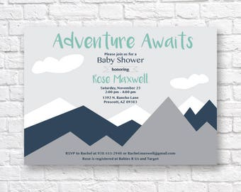 BABY SHOWER INVITATION- Adventure awaits baby shower invitation, Modern Mountain baby shower Invitation, modern baby shower invitation