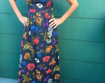 Vintage 70s Handmade Wild Flower Maxi Dress