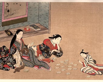 "1906, Japanese antique woodblock print, Miyagawa Issho, ""美人弄骨牌図"", from Ukiyoe-ha-gashu."