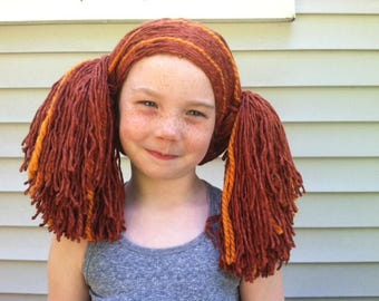 Ready to Ship Child's Pigtail Wig, Kids wig, Costume wig, Rag doll costume, Doll wig, Girls costume, Halloween hair, Yarn wig, Yarn hair
