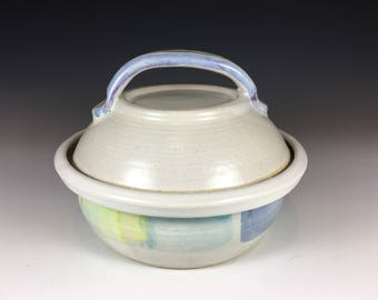 Small Pottery Casserole with Lid, Holds 2 Cups, Stoneware, Spring Colors