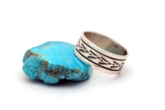 Size 10- Men's Handstamped Native Sterling Ring Boho Authentic Indian Handmade