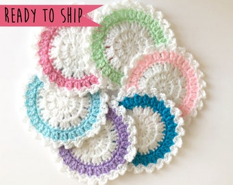 Unicorn Coasters, Coaster Set, Set of 6 Coasters, Crochet Coaster Set, Pastel Coasters, Crochet Coasters, Cute Coasters, House Warming