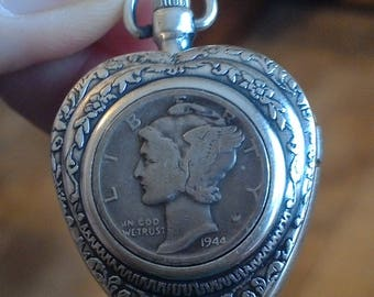 Silver Mercury Dime Coin Watch Heart Pendant Locket Necklace