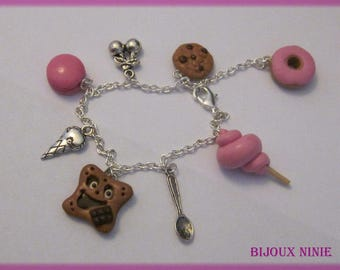 Chocolate biscuit bracelet, cotton candy, cookie en fimo
