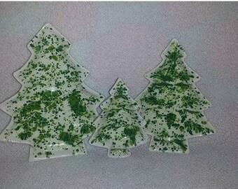 Vintage Christmas Tree Dishes,Splatterware,Christmas Tree Nesting Dish, White and Green, Holiday Decor, Retro Candy Dish, 1970s, Set of 3