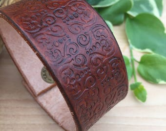 Hand Tooled Leather Cuff Bracelet, Brown