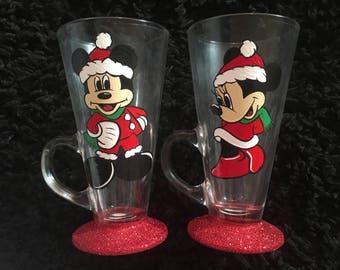 Christmas minnie and mickey latte mugs