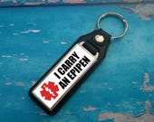 Silver Plated Keyring  Key Ring  Key Chain  I carry an EpiPen Inside key fob  Awareness