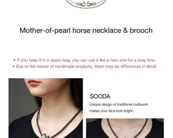 Mother-of-pearl horse necklace & brooch