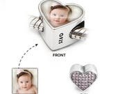 Personalised Photo Charm in 925 Silver | Rose Love Heart | Pandora Bracelet Compatible - Gift Jewellery Valentines