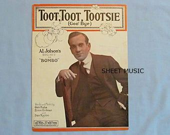 "Sheet Music, 'Toot, Toot, Tootsie"", Al Jolson, from Musical 'Bombo', 1922"
