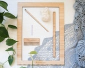 Large Bamboo Weaving Loom Starter Kit - includes loom, needle, comb and cotton warp