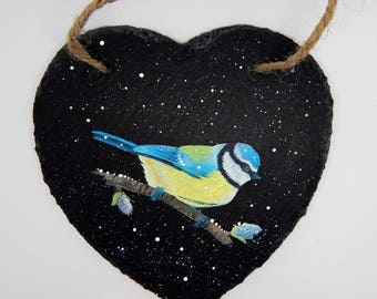 Blue Tit in  Winter - hand painted Slate Heart