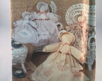 """Vintage Simplicity Crafts Pattern 9735 Heirloom Dolls  and Clothes Sizes 12"""" and 18"""""""