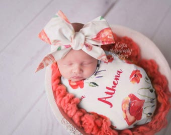CORAL WATERCOLOR FLORAL Gorgeous Wrap- headwrap; fabric head wrap; floral head wrap; newborn headband; baby headband; toddler headband