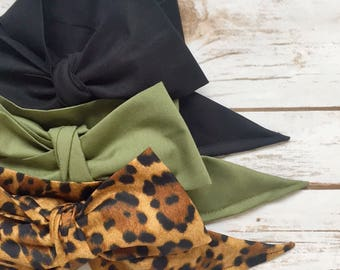 Gorgeous Wrap Trio (3 Gorgeous Wraps)- Noir, Olive & Lulu Leopard Gorgeous Wraps; headwraps; fabric head wraps; bows