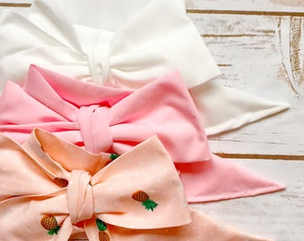 Gorgeous Wrap Trio (3 Gorgeous Wraps)- Blanc, Pink & Maui Pineapple Gorgeous Wraps; headwraps; fabric head wraps; bows