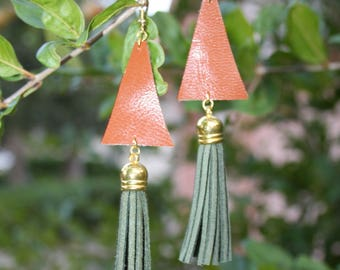 Brown Leather Earrings-Dangle Earrings-Tassel Earrings-Foam Tassels-Fake Leather Tassel -Triangle Earrings, Valentines Day Gift