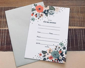 10 Count 'You're Invited' Invitation Cards with Envelopes