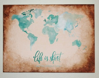 Original Watercolor -  Map of The World - Travel Art - Burnt Edges, Rustic Leather Look