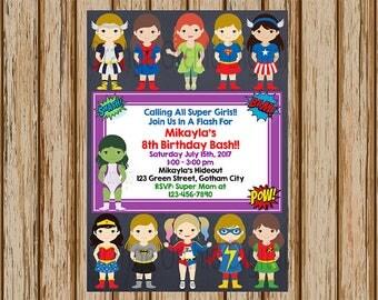 "Girls Superhero Birthday Invitations- Sibling Superhero Birthday Party- Super Girls Birthday Invitations- 5"" x 7"" size- Digital"