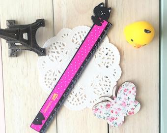 Kawaii Ruler/15cm/1PC/Black & Pink/Kids School Ruler