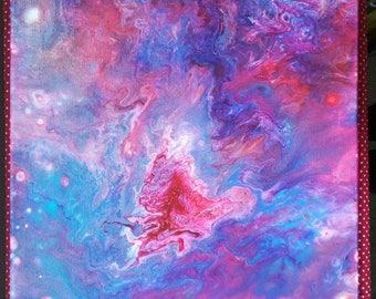 Large purple fire acrylic painting