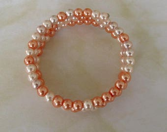 Peach Memory wired  beaded bracelet-pearls-boho-3 rings-perfect gift for her-variety of peach colours-fits most sizes-fits most ages- MBS 18
