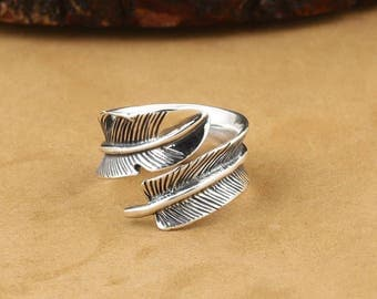 S925 Sterling Silver Takahashi Goro retro exquisite feather rings