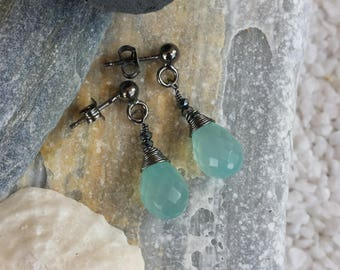 Burnished Silver earrings and blue agate
