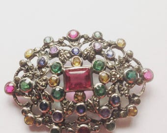 Vintage Marcasite Brooch, Paste Gem Brooch, Silver Brooch, Multi Toned Gems, Vintage Wedding