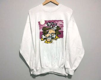 Vintage Cow Sweater Crew Neck - Glow in the dark Moon and Stars on front - 90s - Size Extra Large