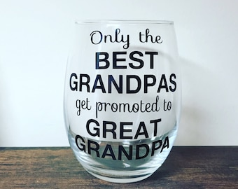 Trending Now - Only the Best Grandpas Get Promoted to Great Grandpa Stemless Wine Glass | Pregnancy Announcement Gift | Pregnancy Reveal