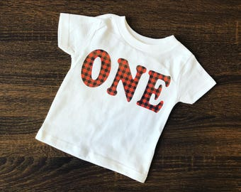 Lumberjack Birthday | Lumberjack First Birthday | Buffalo Plaid Party | ONE | Toddler Boy Shirt | Plaid Birthday Shirt | Birthday Outfit