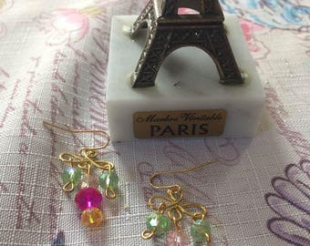 Handmade gold earrings with Swarovski colorful crystal beads