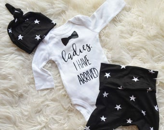 Baby Boy's Outfit, Baby Boy Black & White, Hospital Take Home Outfit, Baby Boy, Monochrome Outfit, Ladies I Have Arrived, Newborn Boy Outfit