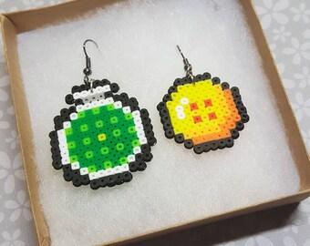 Dragon Ball Z inspired perler bead earrings