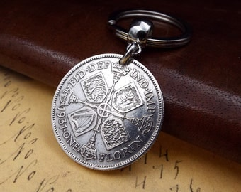 Genuine 1931 50% Silver George V UK Florin Keychain 87th Birthday Gift