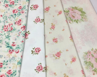 mismatched vintage floral pink roses pillowcases country cottage shabby chic bedding set of 4