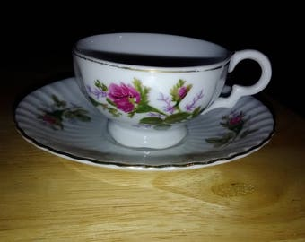 Vintage Tea Cup and Saucer with Purple Flower
