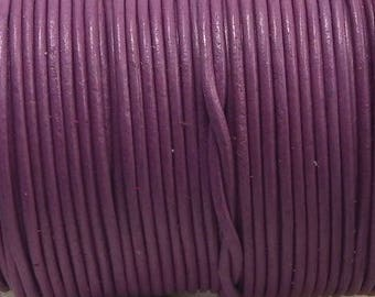leather cord round 1 mm rose dark by 50 cm