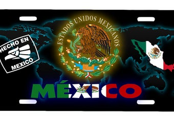 "Mexico Aluminum License Plate Placa  6"" x 12"""